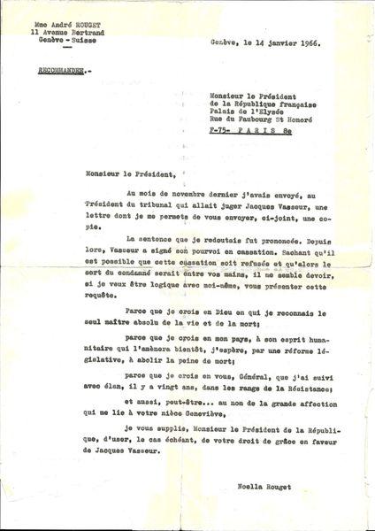 Noella Rouget lettre De Gaulle
